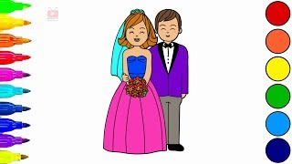 How to Draw Little Bride and Groom Coloring Pages |Videos for Kids-cartooning-cartooning 4 kids