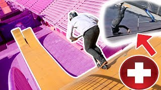 OVER ROTATED TRIPLE FRONTFLIP ON MEGA RAMP! *epic scooter fail*