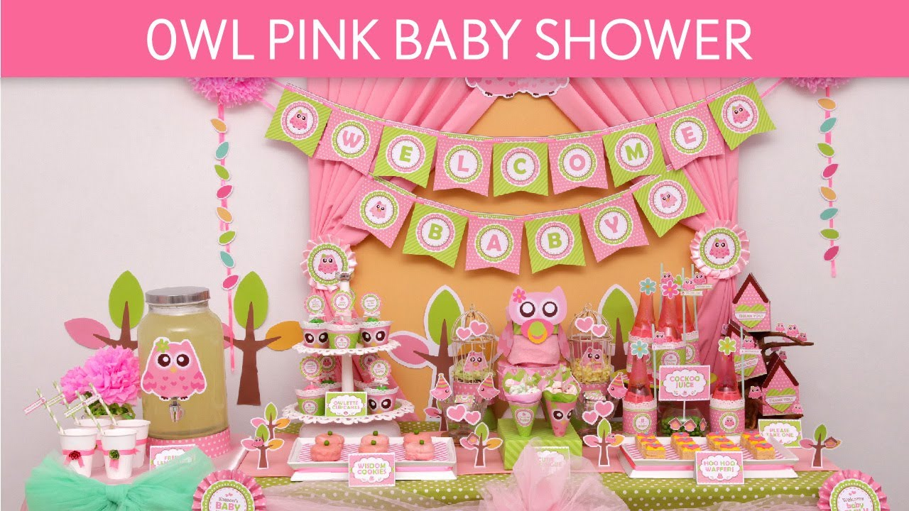 Owl pink baby shower ideas owl pink s23 youtube - Idee deco baby shower ...