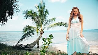 Vanilla Palm Films Island Clothing - Blue Halter Dress - Model/Singer-Songwriter Brooke Michelle...