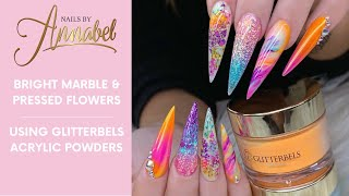 Rainbow Flower||Full Set||Glitterbels All Acrylic||Dried Flowers||Netting Imprint||Marble💕