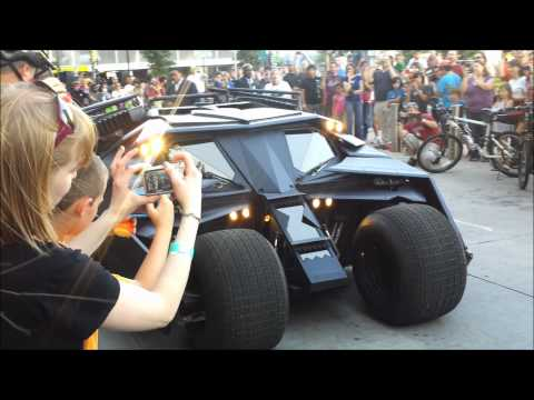 Batman The Dark Knight's Tumbler and Bat-Pod Drive Away at Tulsa Mayfest