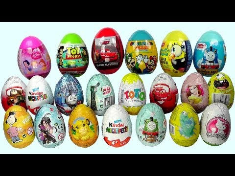 21 Surprise Eggs. Kinder Surprise Cars 2 Thomas Spongebob Disney Pixar
