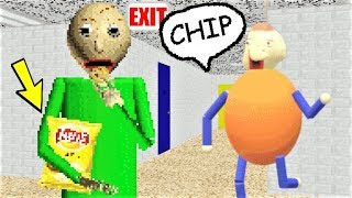 BALDI DISCOVERS CHIPS!! HE LOVES EATING THEM!! | Baldi's Basics MOD: Baldi Loves Chips