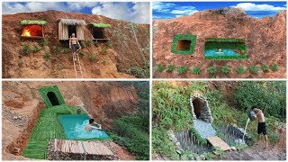 Build Underground House And Swimming Pool On The Cliff By Ancient Skill Full Video
