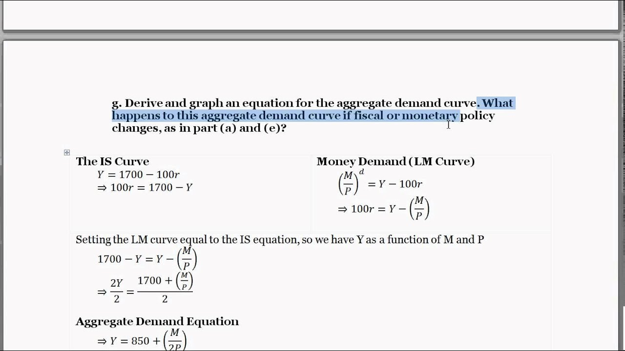 Aggregate Demand Equation Aggregate Demand Equation