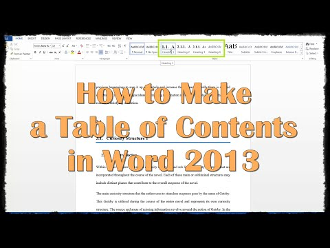 How to Make a Table of Contents in Word 2013