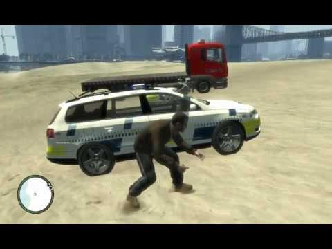 GTA IV - Danish Falck Recovery Truck, Police Motorcycle And VW Passat Police Skins