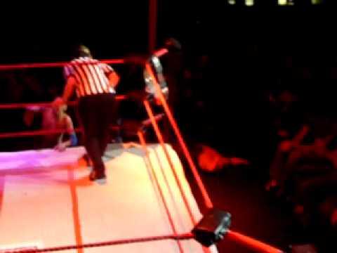 Extreme midget wrestling federation 1/22/11 Summit bar  Denver Co Kidd J holds his title