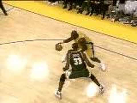 Shaq crossing Jerome James of the Sonics with a crossover then dunking it home. Like me on Facebook! https://www.facebook.com/pages/LakeshowAA24/250543661669...