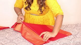 how to fold saree for travelling in tamil\ saree pleating tricks tamil\how to pleat big border saree