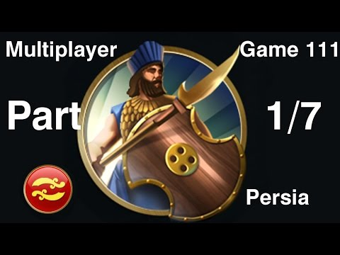 Civilization 5 Multiplayer 111: Persia [1/7] ( BNW 6 Player Free For All) Gameplay/Commentary