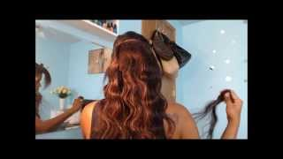 Applying Wavy Clip in Extensions to Relaxed hair - abHair.com