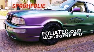 Auto folieren vor Ort Sprühfolie Foliatec Magic Green Purple Flip Flop Dip Your Car Tutorial