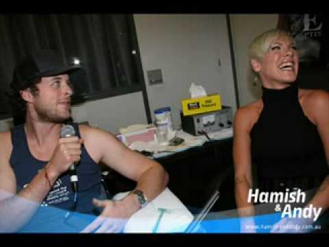 Hamish and Andy met with P!nk before her show to chat and P!nk gave Hamish a