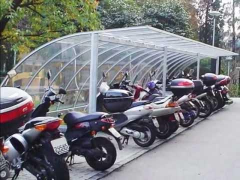 pensiline per biciclette e moto, tettoie per moto, parcheggi biciclette, _TB.wmv - YouTube