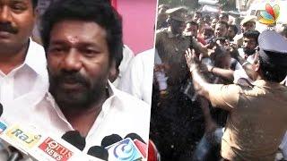 Violent clash between Sarthakumar and Vishal supporters, Karunas Car Glass broken | Nadigar Sangam