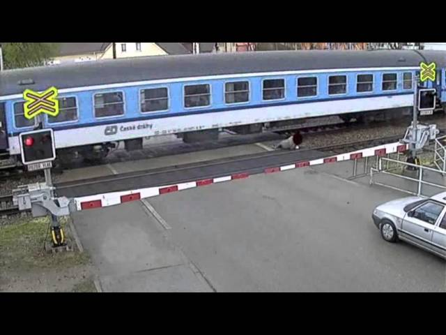 Raw: Czech Man Narrowly Escapes Speeding Train