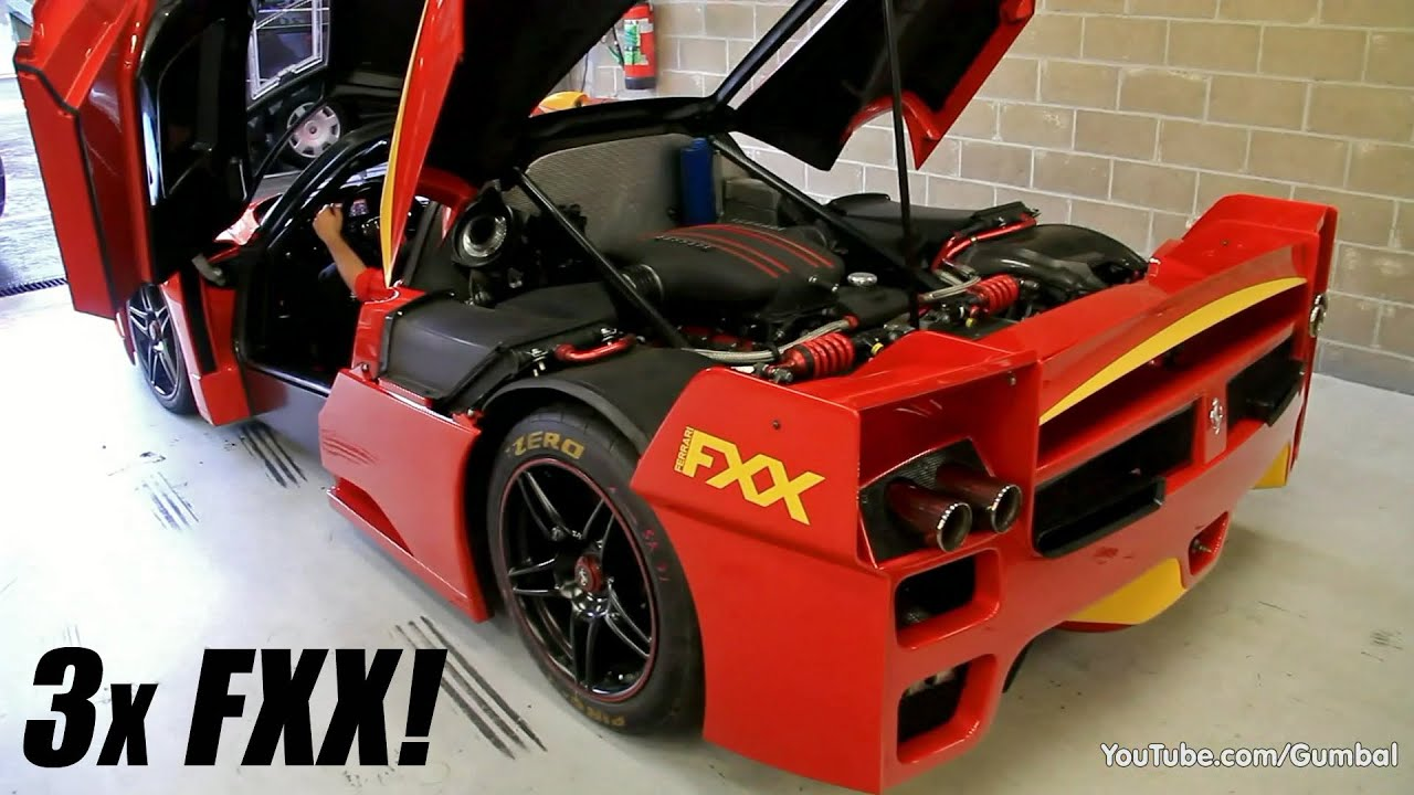3x Ferrari Enzo FXX Evoluzione - Engine warm up! - YouTube