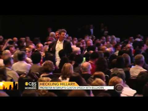 Protester Interrupts Clinton Speech With Bullhorn