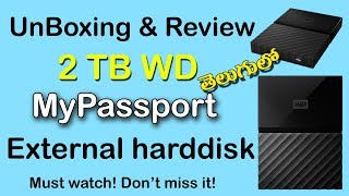 WD My Passport 2TB Portable External Hard drive 2018 Unboxing & Review in Telugu | western Digital