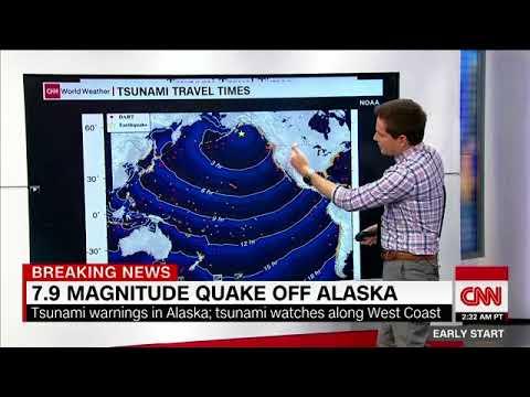 Tsunami warning in effect after 8.2-magnitude earthquake off Alaska coast