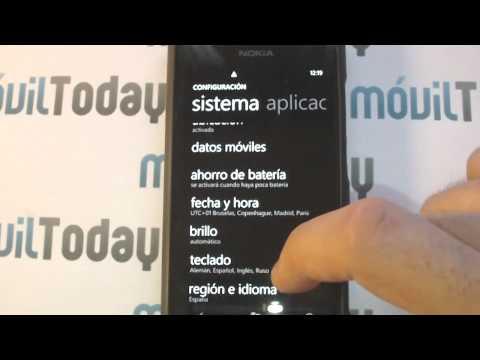 Menú de configuración en el Nokia Lumia 800