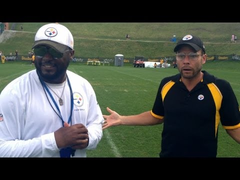 Pittsburgh Dad talks to Coach Mike Tomlin, Heath Miller, Ike Taylor, Larry Foote, and other Pittsburgh Steelers at training camp. Like Pittsburgh Dad on Face...
