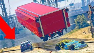 WE LAUNCHED HIM INTO THE WATER! - RAMP CAR TROLLING! - GTA 5 THUG LIFE