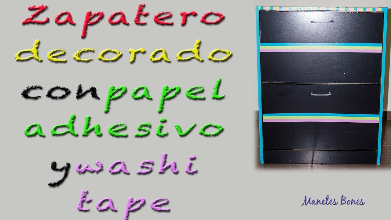 Zapatero decorado con papel adhesivo y washi tape for Decoracion con papel