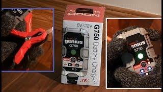 unboxing Noco Genius G750 Car Battery Charger 12 Volt 0.75 Amp