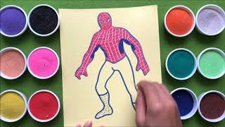Đồ chơi trẻ em TÔ MÀU TRANH CÁT NGƯỜI NHỆN | Learn colors Spider Man Sand Painting (chị Chim Xinh)