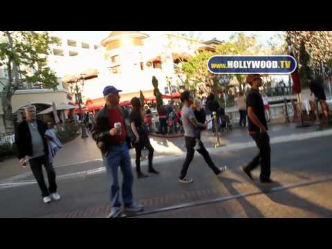 Pete Wentz, Meagan Camper, and Bronx Mowgli Wentz walk The Grove