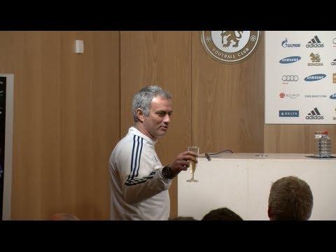Champagne Jose! Mourinho celebrates birthday with journalists