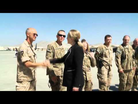 Hillary Clinton talks to troops at Kabul Airport, Afghanistan 7/7/2012