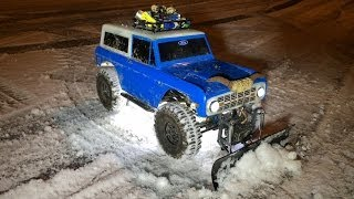 RC4WD Blade Snow Plow First Test on my Axial SCX10 Ford Bronco
