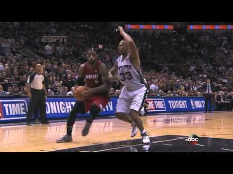 Lebron James gets cramps and carried off court Game 1 2014 NBA Finals