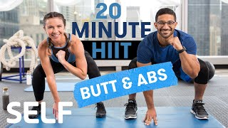 20 Minute HIIT Cardio Workout Glutes & Abs No Equipment With Warm-Up and Cool-Down | Sweat With SELF