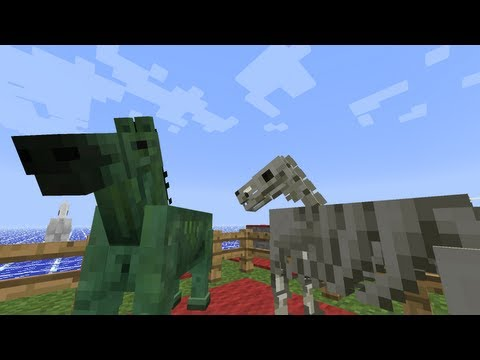 MineCraft 1.6 Snapshot 13w20a Skeleton Horse & Zombie Horse! (Snapshot)