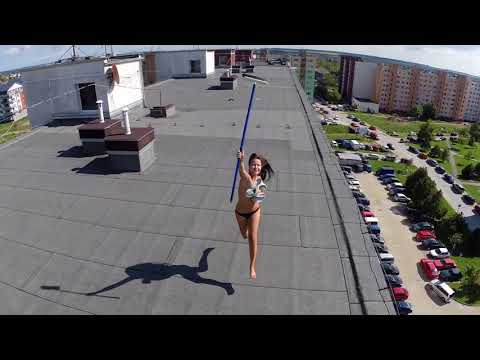 Drone helicopter spies topless woman