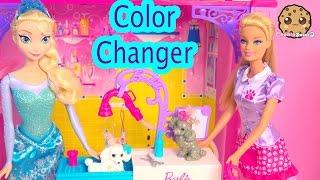 Color Changing Pups Water Play Barbie Pet Groomer Playset with Disney Frozen Queen Elsa Dolls  Video