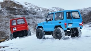 Scale RC Toyota Land Cruisers in snow - MST CMX and Tamiya CC-01