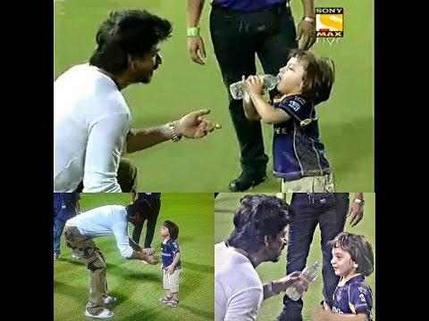 Shah Rukh Khan and AbRam at Eden Gardens after winning match #KKRvKXIP 04.05.2016