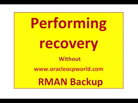 Performing recovery without RMAN Backup