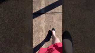 Teen crossdresser walking outdoor in heels and stockings