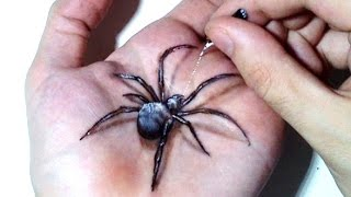 Hand Art 3D, Hideous Spider Drawing!