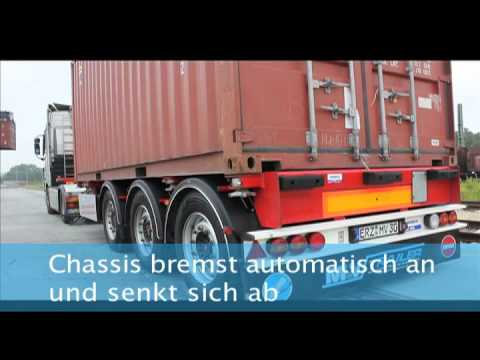 Schiebechassis 20 ft. Container mittig