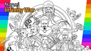 Marvel Avengers Infinity War   How To Draw   Painting Ironman Hulk Tor   drawing and coloring pages 10.78 MB