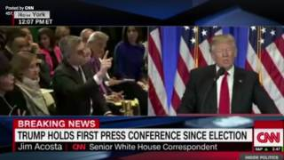 """Trump says """"CNN is Fake News"""" & Refuses to Answer Question from CNN Heckler"""