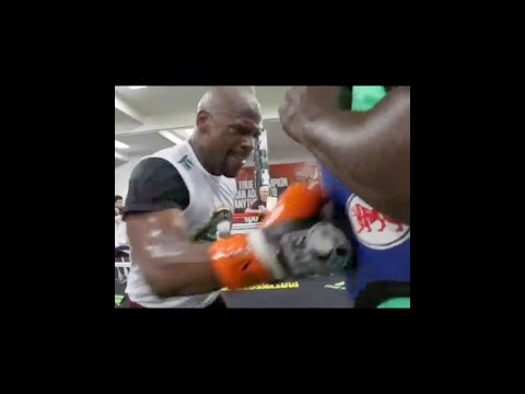 Watch Floyd Mayweather get savage on bag and body shield as he trains for Manny Pacquiao